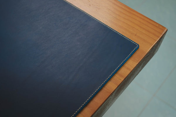 13 COLORS - Stitched Navy Blue Buttero Leather Desk / Keyboard & Mouse Pad