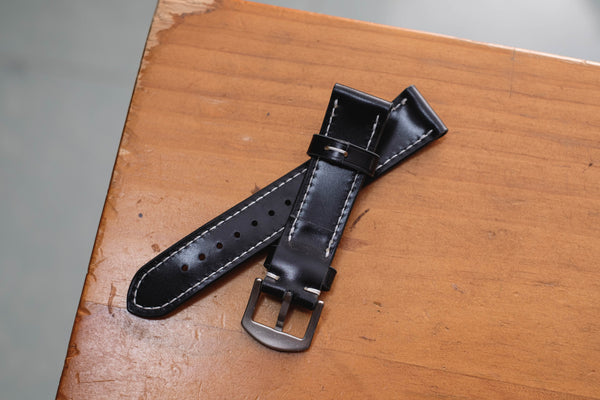 Black Shell Cordovan Leather Tapered Basic Watch Strap (18, 20, 22 and 24 mm)