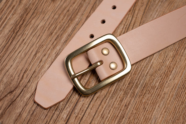 5 Colors - Natural Vegetable-tanned Leather Garrison Belt (1.5 inch, 38 mm wide)