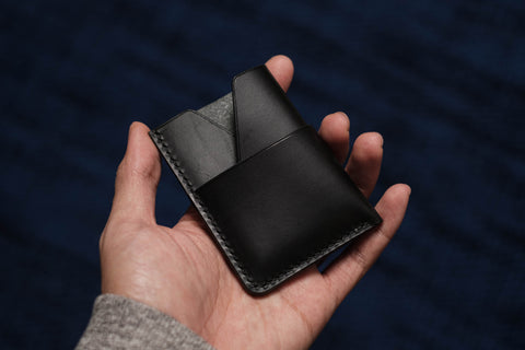 13 COLORS - Black Buttero Leather Kimono Card Wallet