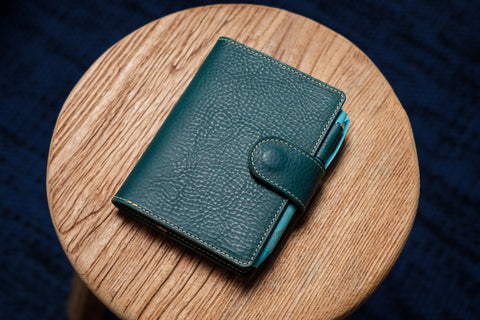 6 COLORS - A6/Hobonichi/Midori MD Navy Blue Snap Closure Pebbled Leather Notebook Cover