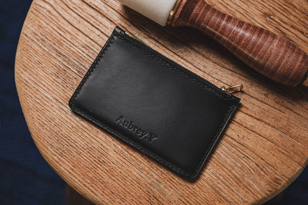 Black Buttero Leather Zip Card Holder