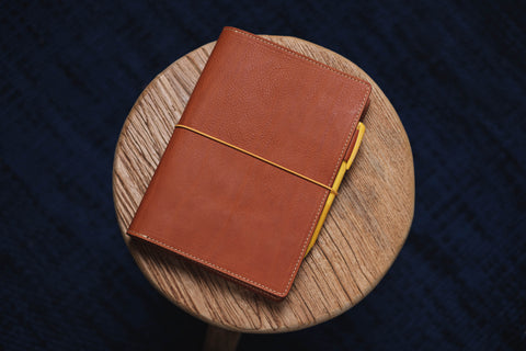 6 COLORS - A5/Hobonichi/Midori MD Orange-brown Elastic Closure Pebbled Leather Notebook Cover