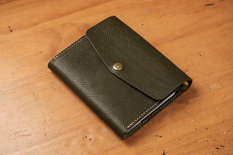 6 COLORS - A6/Hobonichi/Midori MD Olive Green Trifold Pebbled Leather Notebook Cover