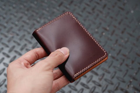 7 COLORS - Burgundy Shell Cordovan & Natural Leather 4-Slot Vertical Card Wallet - Eternal Leather Goods