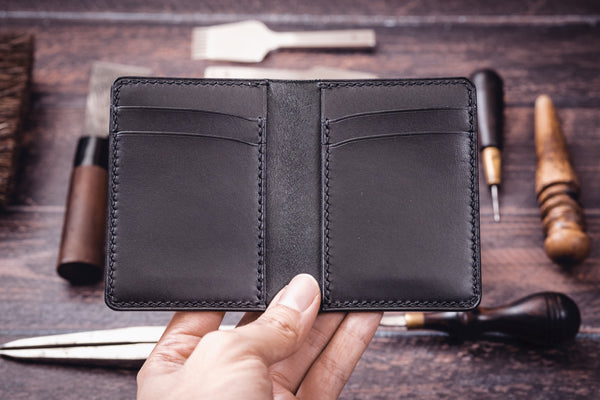 Black Shell Cordovan & Buttero Leather 4-Slot Vertical Card Wallet - Eternal Leather Goods