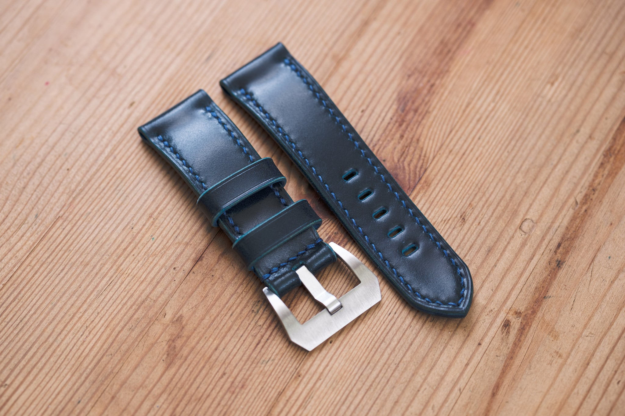 Navy Blue Shell Cordovan Leather Standard Tapered Strap for Panerai (22, 24 or 26 mm)
