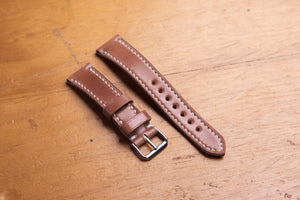 Natural Horween Shell Cordovan Leather Tapered Basic Watch Strap (18, 20, 22 and 24 mm) - Eternal Leather Goods