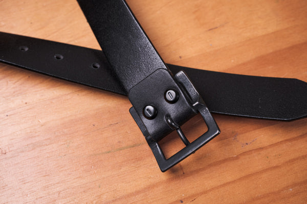 Blackout Unisex Vegetable-tanned Leather Garrison Belt (~1.3 inch, 34 mm wide)