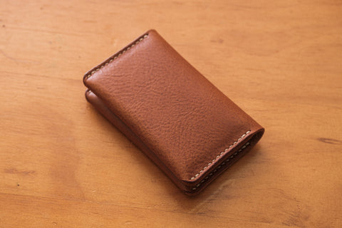 6 COLORS - Brown Minerva Box Leather Folded Business Card Holder