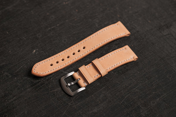 Natural Leather Tapered Basic Watch Strap (18, 20, 22 and 24 mm)