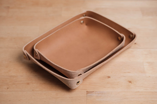12 COLORS - Caramel Buttero Leather Rectangular Catchall Trays - Eternal Leather Goods