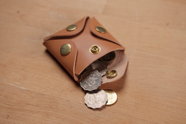 13 COLORS - Vegetable-tanned Leather Square Coin Purse, Utility Pouch - Eternal Leather Goods