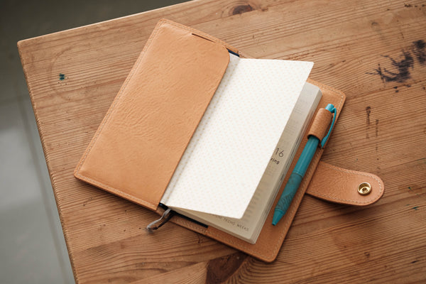 6 COLORS - Hobonichi Weeks Natural Snap Closure Pebbled Leather Notebook Cover - Eternal Leather Goods