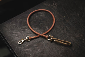 Light Brown Vegetable-tanned Leather Cord Wallet Rope with Fish Hook