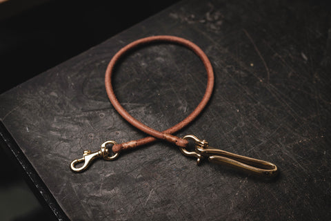 Dark Brown Vegetable-tanned Leather Cord Wallet Rope with Fish Hook