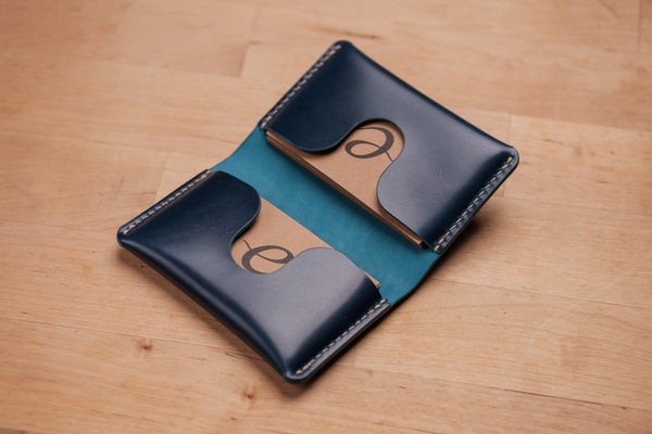 7 COLORS - Navy Blue Shell Cordovan Leather Folded Business Card Holder