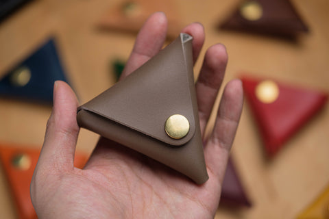 13 COLORS - Vegetable-tanned Leather Triangle Coin Purse, Utility Pouch - Eternal Leather Goods