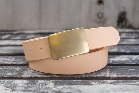 5 COLORS - Natural Vegetable-tanned Leather Solid Brass Plate Buckle Belt (1.5 inch, 38 mm wide)