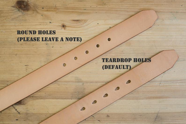 5 COLORS - Natural Vegetable-tanned Leather Standard Belt (1.5 inch, 38 mm wide)