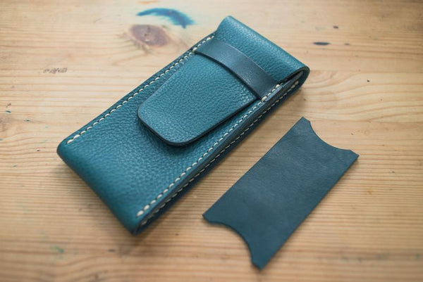 Navy Blue Minerva Box Vegetable tanned Leather Watch Pouch