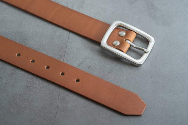 5 COLORS - Brown Vegetable-tanned Leather Garrison Belt with Stainless Steel Buckle (1.5 inch, 38 mm wide) - Eternal Leather Goods