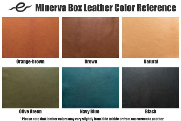 6 COLORS - Navy Blue Minerva Box Leather Folded Business Card Holder