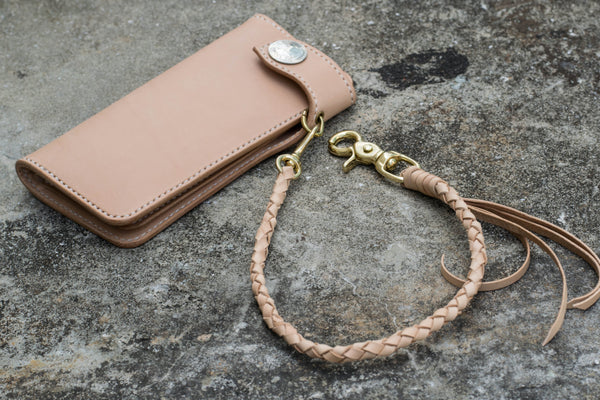 Round Braid Natural Vegetable-tanned Leather Wallet Rope with Trigger Snap