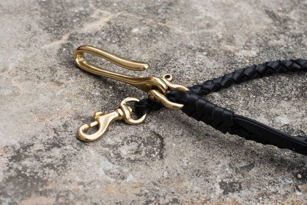 Round Braid Black Vegetable-tanned Leather Wallet Rope with Fish Hook