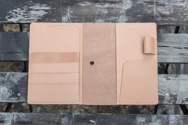 A6/Hobonichi/Midori MD Natural Elastic Closure Leather Notebook Cover with card pockets
