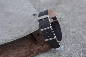 Black Hermann Oak Leather Nato Strap (16, 18, 20, 22 & 24mm Wide)