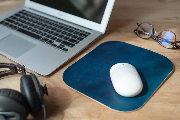 4 COLORS - Navy Blue Leather Mouse Pad - Eternal Leather Goods