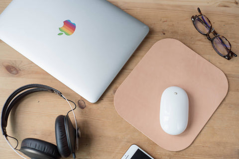 4 COLORS - Natural Leather Mouse Pad - Eternal Leather Goods
