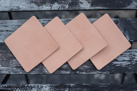 Natural Hermann Oak Leather Square Coaster Set (Plain)