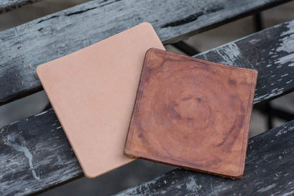 Natural Hermann Oak Leather Octagon Coaster Set (Plain)