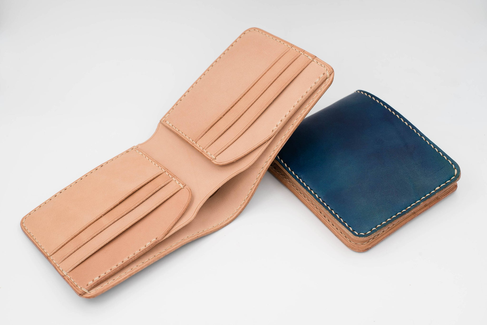 6-Slot Navy Blue & Natural Leather Billfold Wallet for men