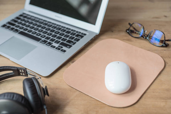 4 COLORS - Natural Leather Mouse Pad