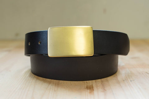 5 COLORS - Black Vegetable-tanned Leather Solid Brass Plate Buckle Belt (1.5 inch, 38 mm wide)