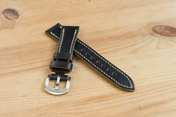 Black Hermann Oak Leather Tapered Basic Watch Strap (18, 20, 22 and 24 mm)