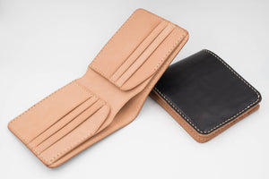 6-Slot Black & Natural Leather Billfold Wallet
