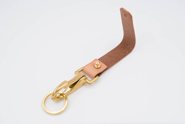 Natural Hermann Oak Leather Key holder / Belt Loop with Solid Brass Hardware and stud