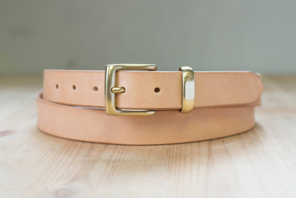 5 COLORS - Natural Vegetable-tanned Leather Dress Belt (30 mm wide)