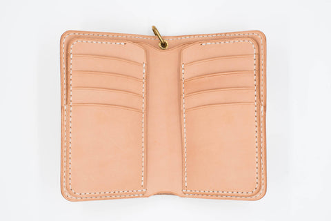 Natural Leather Middle Wallet for men