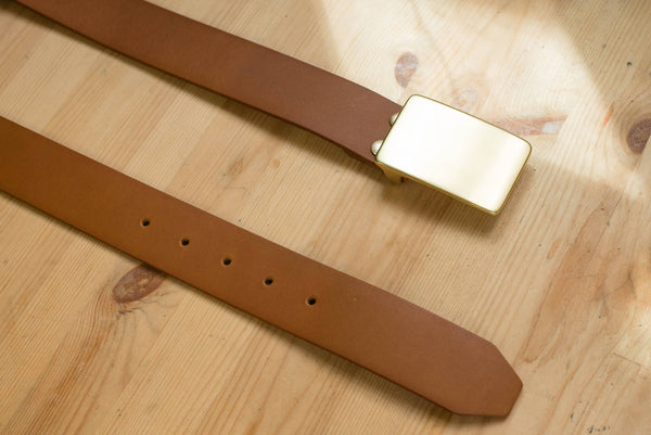 5 COLORS - Brown Vegetable-tanned Leather Solid Brass Plate Buckle Belt (1.5 inch, 38 mm wide)