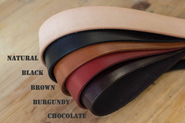 5 COLORS - Natural Vegetable-tanned Leather Stitched Double Garrison Belt (1.5 inch, 38 mm wide)