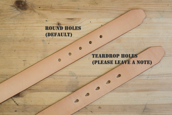 CUSTOMIZABLE - 5 COLORS Unisex Natural Vegetable-tanned Leather Garrison Belt (~1.3 inch, 34 mm wide) - Eternal Leather Goods