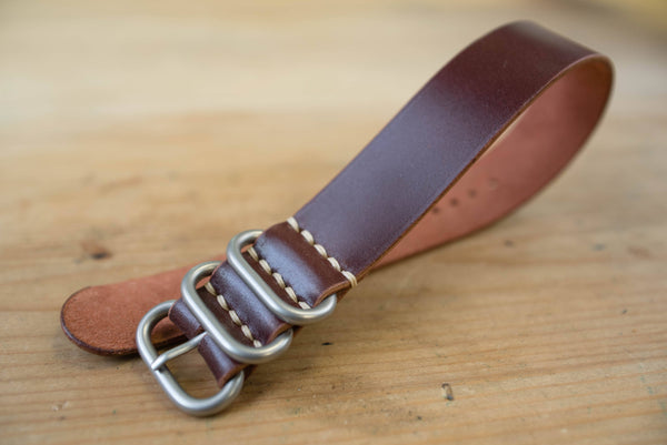 7 COLORS - Burgundy Shell Cordovan Leather Single Pass ZULU Strap