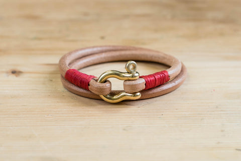 CUSTOMIZABLE - Natural Vegetable-tanned Leather Double Wrap Cord Shackle Bracelet