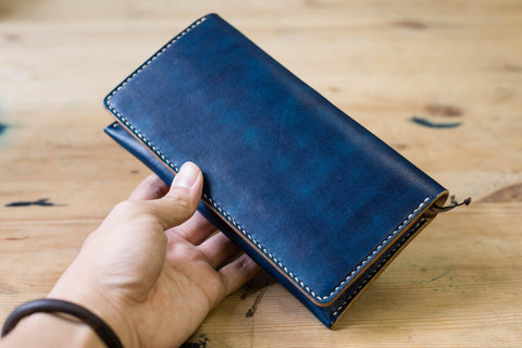 Navy Blue Leather Hobonichi Weeks (Mega) Phone Wallet