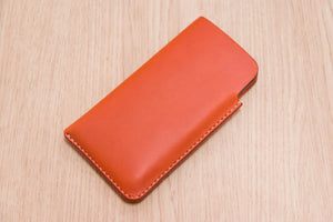 12 COLORS - Orange Buttero Leather iPhone Sleeve